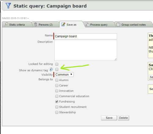 Show a saved query as a dynamic tag