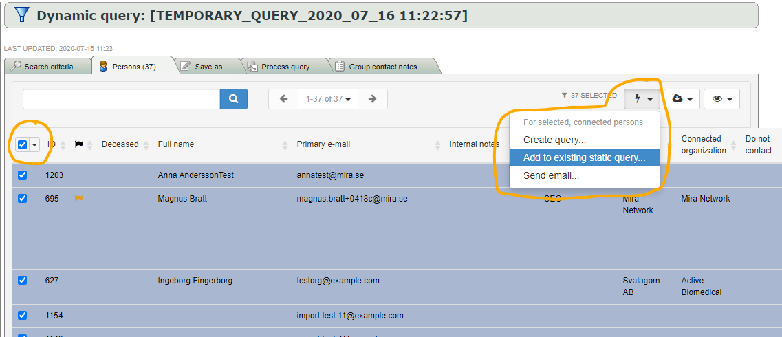 Add query results to existing static query
